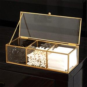 Make Up Organizer Glass Jewelry Storage Box Cotton Swab Case Organizadores De Maquillaje En Acrilico Cosmetic Storage Box