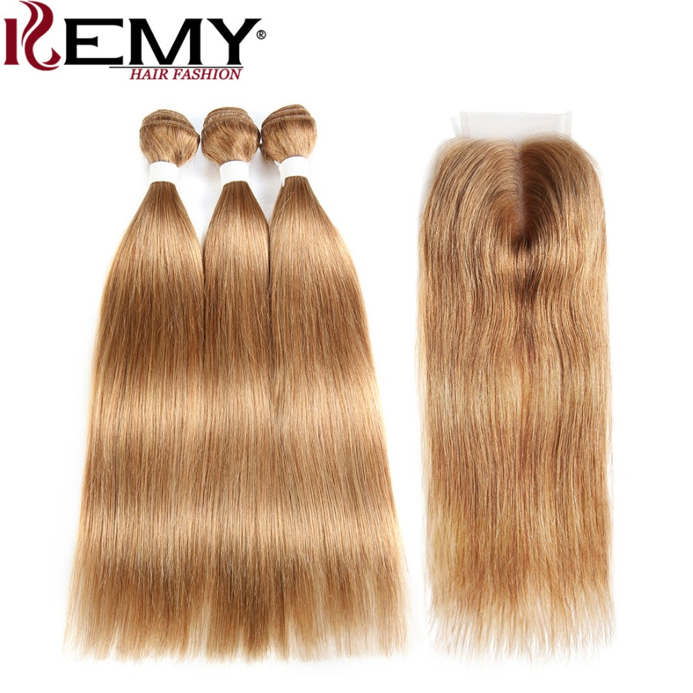 Light Brown Human Hair Bundles With Closure 4x4 KEMY HAIR 3PCS Pre-Colored Straight Hair Weave Bundles Non-Remy Brazilian Hair