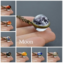 Solar System Planet Necklace Galaxy Nebula Space Necklace Moon Earth Double Side Glass Ball Pendant Jewelry for Men Women fashion solar system moon earth mars planet necklace antique silver crescent moon pendant chain necklace outer space jewelry