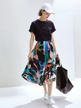 Issey fold skirt 2019 Summer Ink and wash printing Big code Skinny Irregularity Half