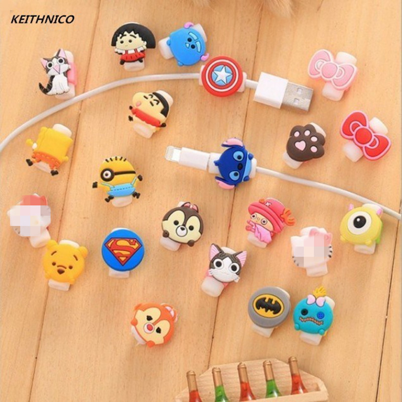 KEITHNICO 100pcs Cartoon Cable Saver Protector USB Charging Data Line Protective Sleeves Cable Winder for iPhone 5s 6s Ipad mini