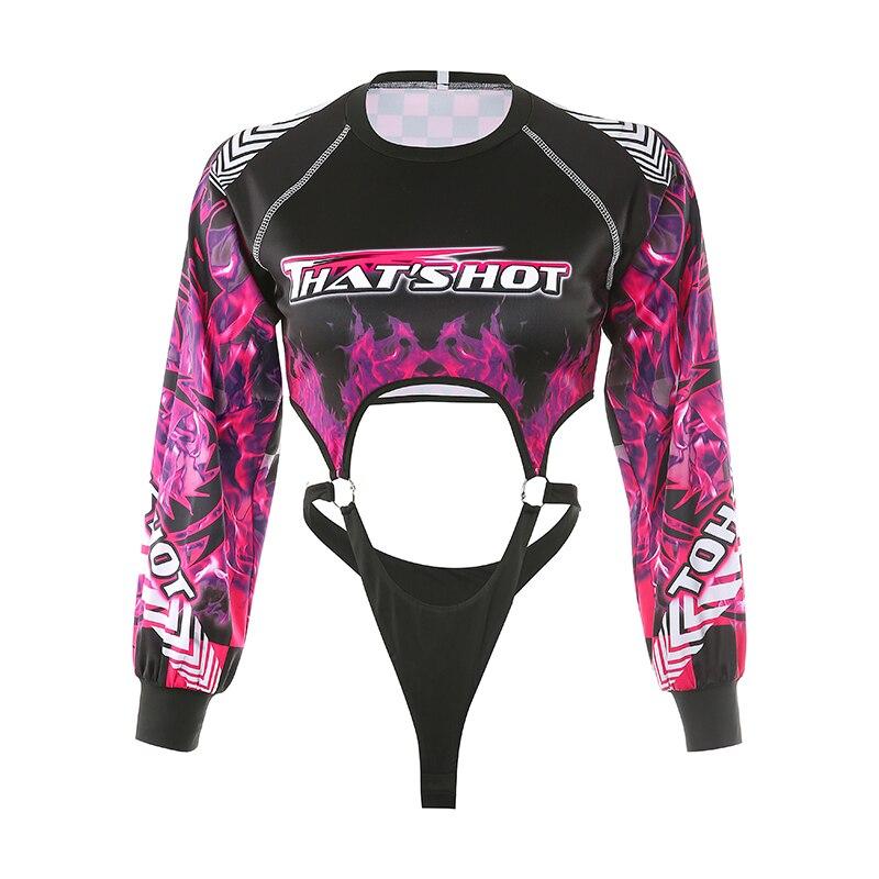 Weekeep Sexy Hollow Out Flame Print Bodysuit Women Long Sleeve Streetwear Bodysuits 2019 Bodycon O-neck Bodysuits