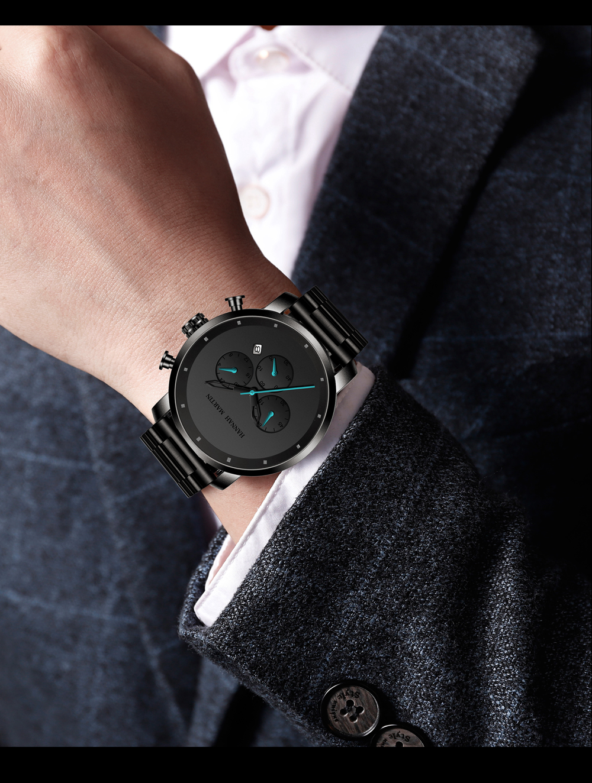H6275ef666aa9427a9d848008a7f378e1k DropShipping Big Dial 45mm Full Black Stainless Steel Multi-function Calendar Men's Top Brand Luxury Watches Relogio Masculino
