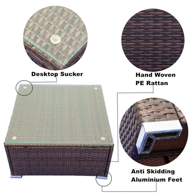 3 Piece Patio  Wicker Sectional Sofa Set  4