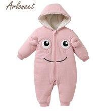 Одежда arloneet, зимнее плотное пальто для новорожденных девочек, комбинезон с рисунком, верхняя одежда с капюшоном, хлопковое Детское пальто, верхняя одежда для девочек