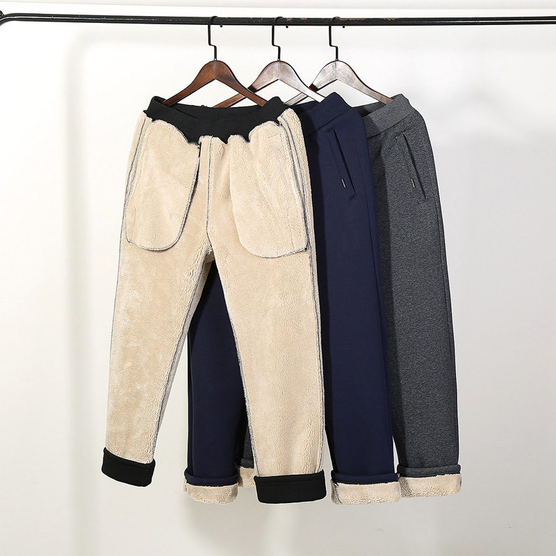 Winter Fur Lining Warm Mens Pants Casual Sweatpants Thicken Cotton Pantalon Full Length Trousers Large Size M-5XL Harem Pants