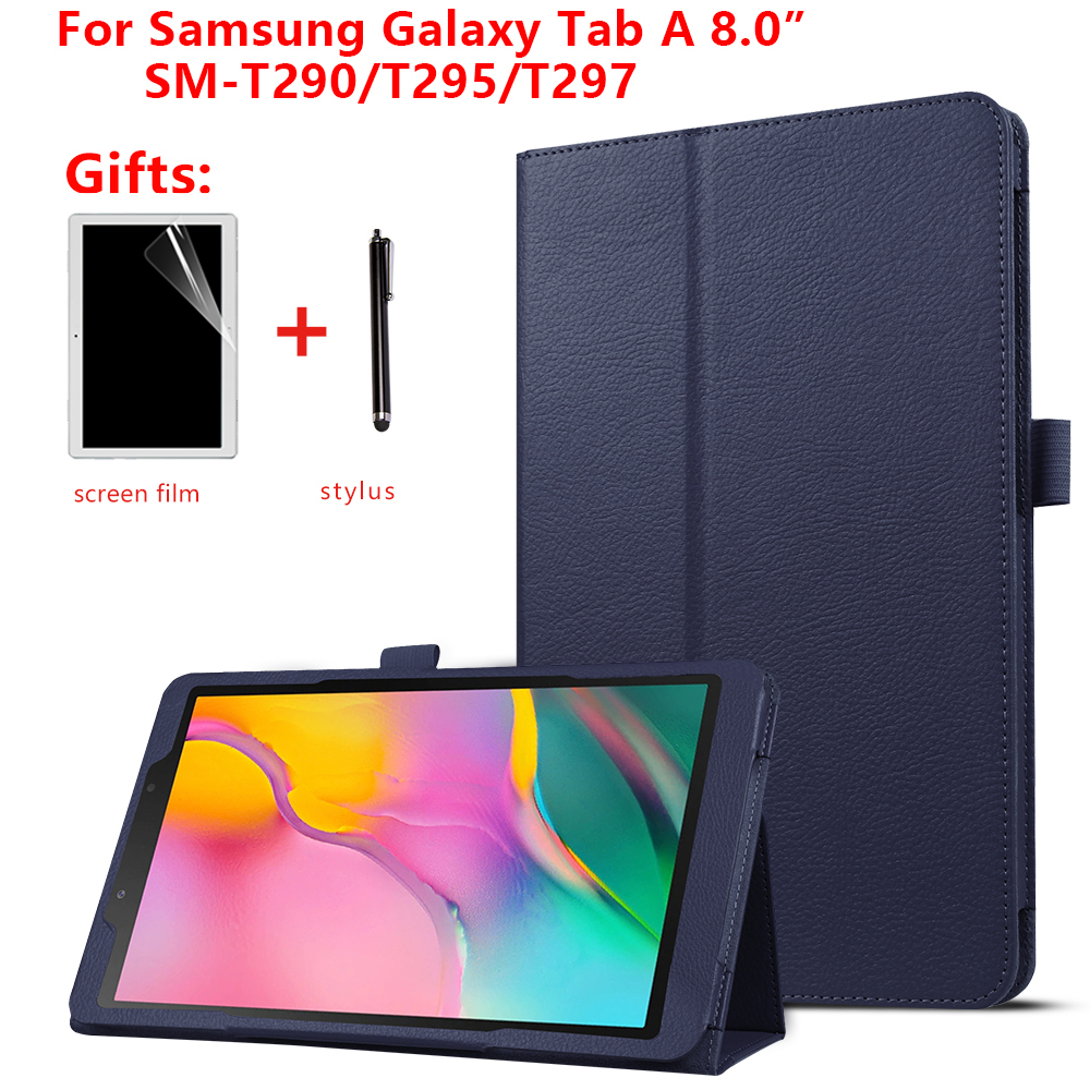 "For Samsung Galaxy Tab A 8.0"" inch 2019 tablet SM-T290 T295  T297 PU leather cover case PU Leather Protective Case + gift"