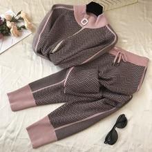 CBAFU moda kobiety dres patchwork golfem zamek kardigany z dzianiny sweter spodnie garnitur 2 sztuka zestaw spodnie elastyczne P570