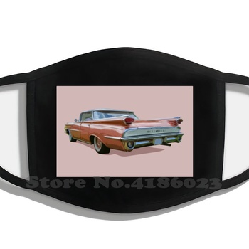 Tail Fin Winter Hot Sale Print Diy Masks Oldsmobile Pink Oldsmobile American Classic Car Retro American Car Pink Classic Car image