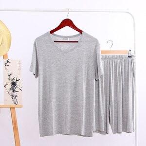Image 3 - Summer Modal Pajama Sets Thin Short Sleeve T shirt Shorts Sleepwear Mens Casual Set 2 Piece V Neck Solid Color Home Clothing