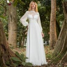 Белое платье элегантное ТРАПЕЦИЕВИДНОЕ свадебное с длинными