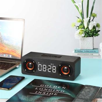 Drewniany głośnik bezprzewodowy bluetooth tf TV PC głośnik subwoofer AUX z LED zegar cyfrowy stolik nocny budzik radio FM tanie i dobre opinie CN (pochodzenie) Z tworzywa sztucznego Luminova tt12568 Stoper Z podświetleniem 73mm DIGITAL 8 cal Krótkie Trójkąt Zegary biurkowe