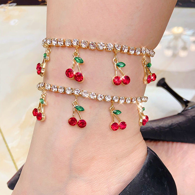 Flatfoosie Korean Cute Red Cherry Crystal Anklet for Women Shiny Tennis Chain Anklet Summer Beach Foot Bracelets Female Jewelry