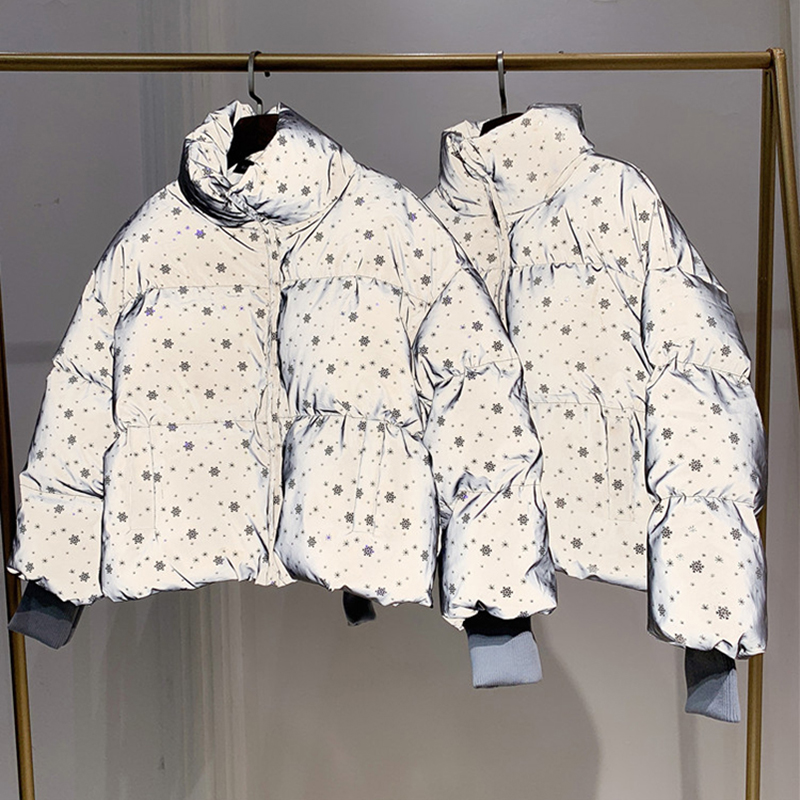 Invierno mujer Streetwear Down Parka Oversize chaqueta reflectante corto cálido mujeres abrigo copo de nieve lentejuelas Parka chaqueta acolchada de algodón Ropa de algodón para niñas, ropa de invierno para bebés recién nacidos, conjunto de 2 uds, ropa Unisex para niños
