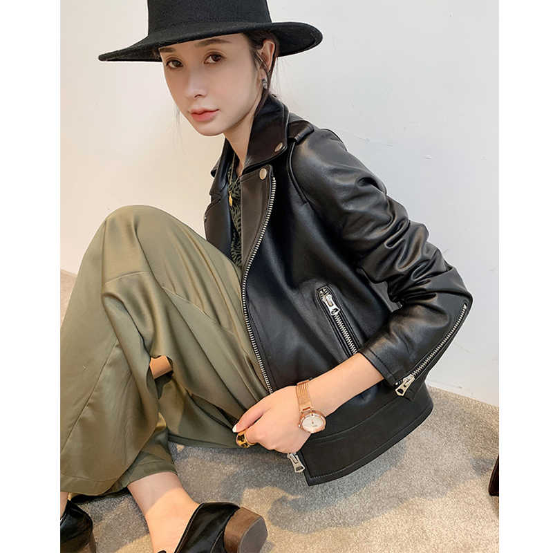 Genuine Leather Jacket Women 2019 Autumn Real Leather Jacket Motorcycle Biker Jacket Female Natural Sheepskin Leather Coat