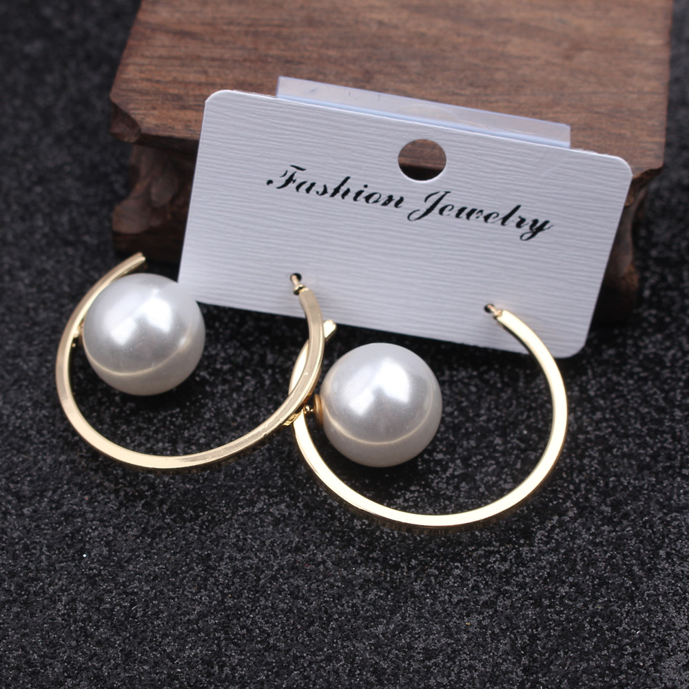 New Fashion Gold Color Roud Imitation Pearl Drop Earring For Women Brincos Vintage Silver Earing 2020 Irregular Korean Jewelry