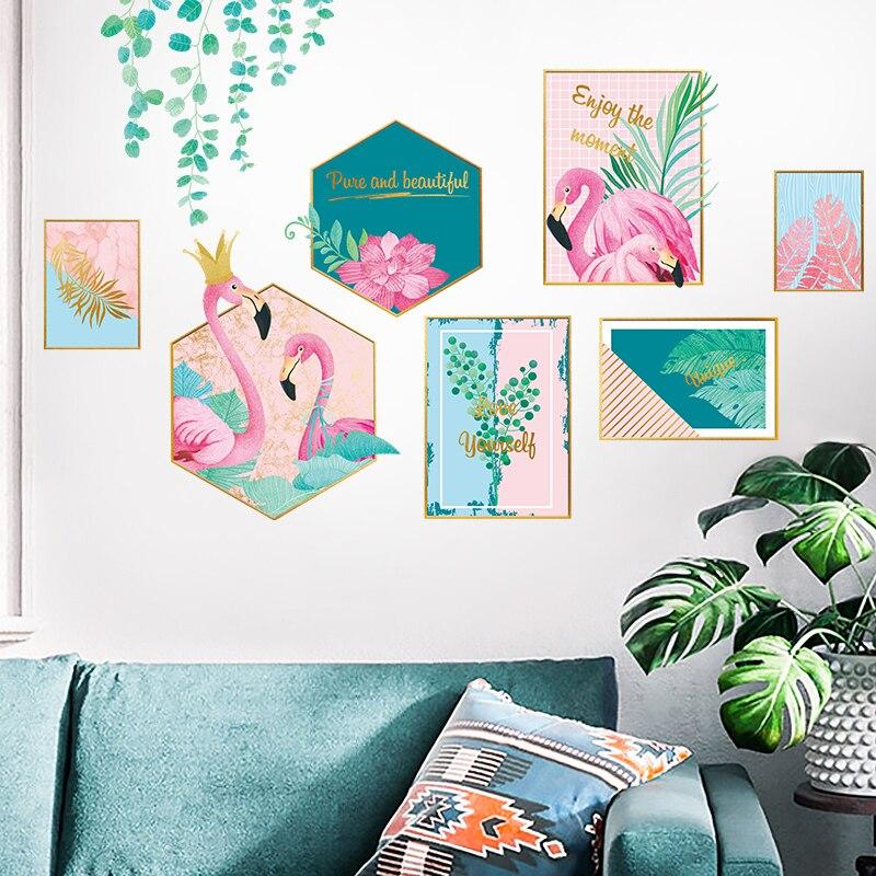 Criativo Animais Flamingo As Folhas Da Árvore de Adesivos de Parede DIY Mural Decalques para Crianças Quarto Sala de estar Decoração de Casa