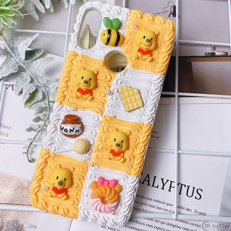 DIY case for Samsung s20 plus 3D bear phone cover Galaxy s10 plus s7/s8/9+ handmade creamy shell s20 Ultra candy food girl gift image