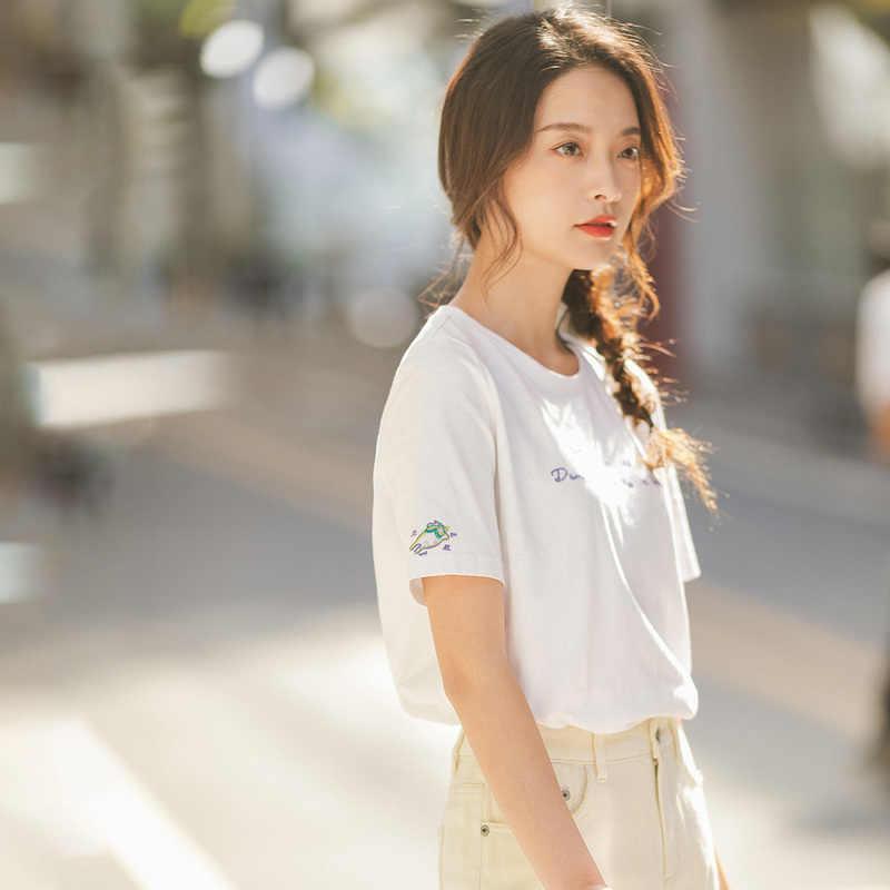 INMAN 2020 봄 신착 문학 라운드 칼라 떨어 뜨린 어깨 루스 반소매 풀오버 t 셔츠