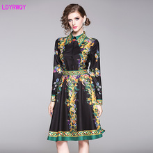 2019 new European and American style lapel single-breasted long-sleeved waist  retro print dress