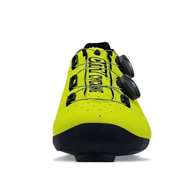 Heatmoldable fibra de carbono ciclismo sapatos de estrada pro dois laços auto-travamento da bicicleta respirável equitação bota das mulheres dos homens original cidade 4