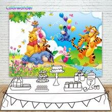 Fondos de fotografía de Fiesta Temática Winnie Pooh, dibujos animados de primavera, Banco de Río, globos coloridos, Fondo para Decoración de cumpleaños para niños