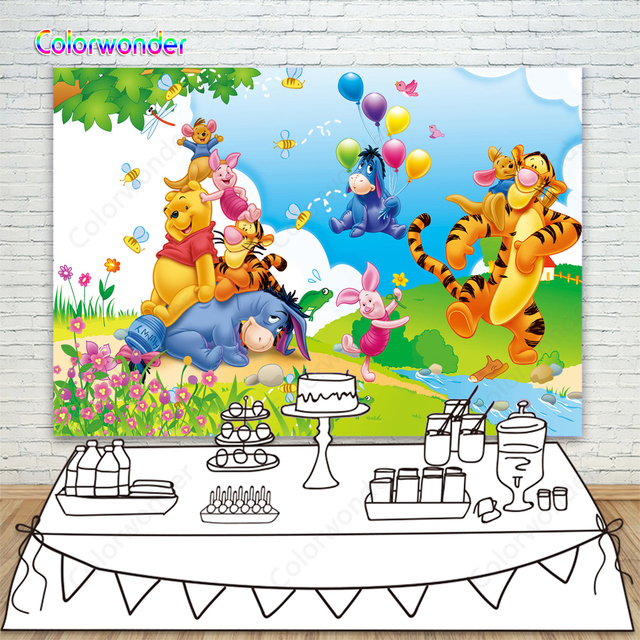 Winnie Pooh Theme Party Photography Backdrops Cartoon Spring River Bank Colorful Balloons Background For Children Birthday Decor