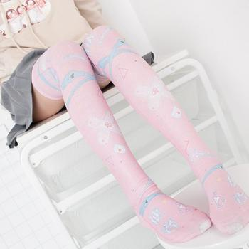 Japanese Sexy Women Stockings 3D Printed Cosplay Cut Cartoon Anime Pink Girl Gift Thigh High Knee Nylon