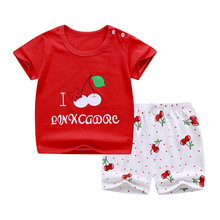 New Born Baby Girl Clothes Baby Valentine Outfit Baby Boys Clothes SUMMER 2020 Clothes For Babies cheap COTTON Casual O-Neck Sets Pullover Short REGULAR Fits true to size take your normal size Combed Cotton Print Unisex