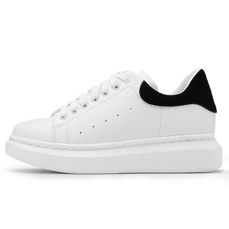 Primavera outono tênis de couro genuíno das mulheres sapatos brancos moda rendas-up sapatos de plataforma grossas para calçados casuais de rua