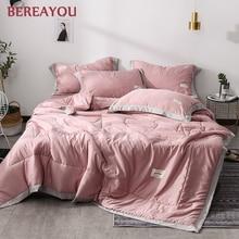 1/4pcs Luxury Cotton Bed Quilts Washed Tencel Bedspread Summer Quilt Blanket Kids Comforter edredones King Size Cover Set