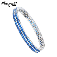 925 Sterling Silver Modern Bracelet With Blue Rhinestonel Sliver Pave Setting CZ Stone Wedding Engagement For Women Girls Gift