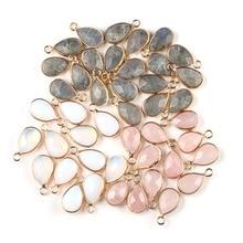 Wholesale Rose Quartzs Pendants 8 Colors Water Drop Shape Natural Stone Pendant  DIY for Earring Jewelry Making Size 18*10*5 Mm