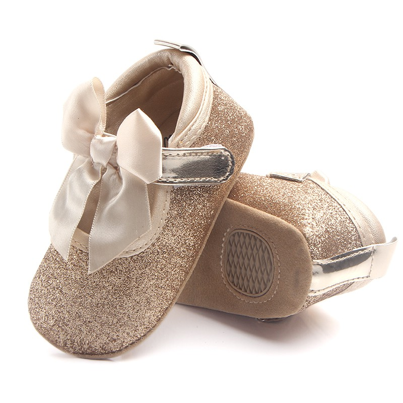 Baby Shoes Newborn Girls Ribbon Bow Shallow First Walker Anti Slip Infantil Moccasins Golden Silver