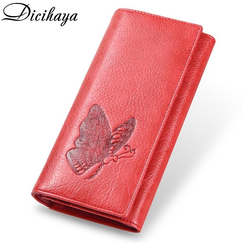 DICIHAYA Genuine Leather Women Wallet Long Purse Butterfly Embossing Wallets Female Card Holders Carteira Feminina Phone Bag