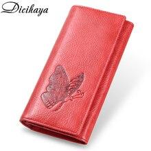 DICIHAYA prawdziwej skóry kobiet portfel długa torba motyl tłoczenie portfele kobiet etui na karty Carteira Feminina telefon torba