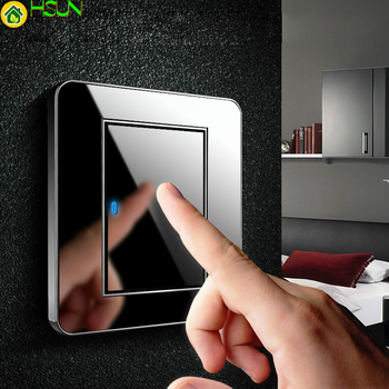 Type 86 Black mirror switch Household Wall TV Computer socket LED Light- Point switch 1 2 3 4 gang 1 2 way  EU socket USB chint new2k illuminated switch wall switch socket light champagne gold four gang two way