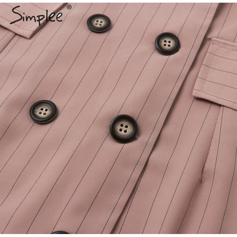 Simplee Elegant stripe sash belt women blazer dress Autumn winter office ladies blazer dress Double breasted female short dress