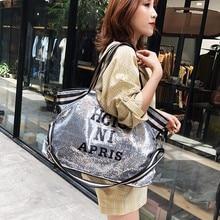 MissYe Bagmall  Sequined handbag female large-capacity short-distance travel bag fashion simple shoulder fitness yoga