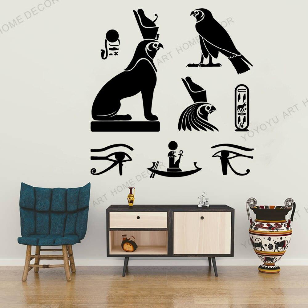 Art Egyptian Birds Ancient Egypt Hieroglyphics Symbol Vinyl Wall Stickers Home Decor Living Room Decal Art Mural Gift JC117