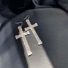 Стразы большие серьги с крестом женские 2020 новые модные ювелирные