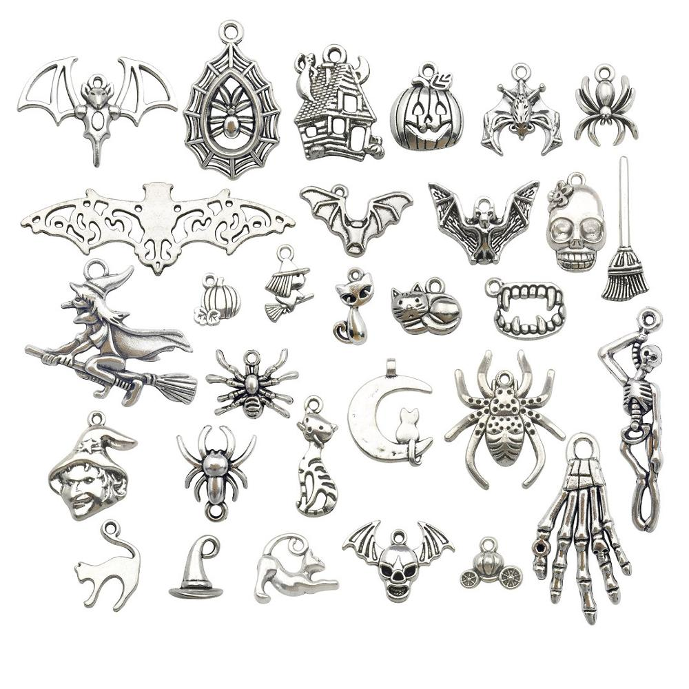 Charms DIY Bracelet Pendants Necklace Pumpkin Skeleton Jewelry-Making Silver-Plated Witch title=