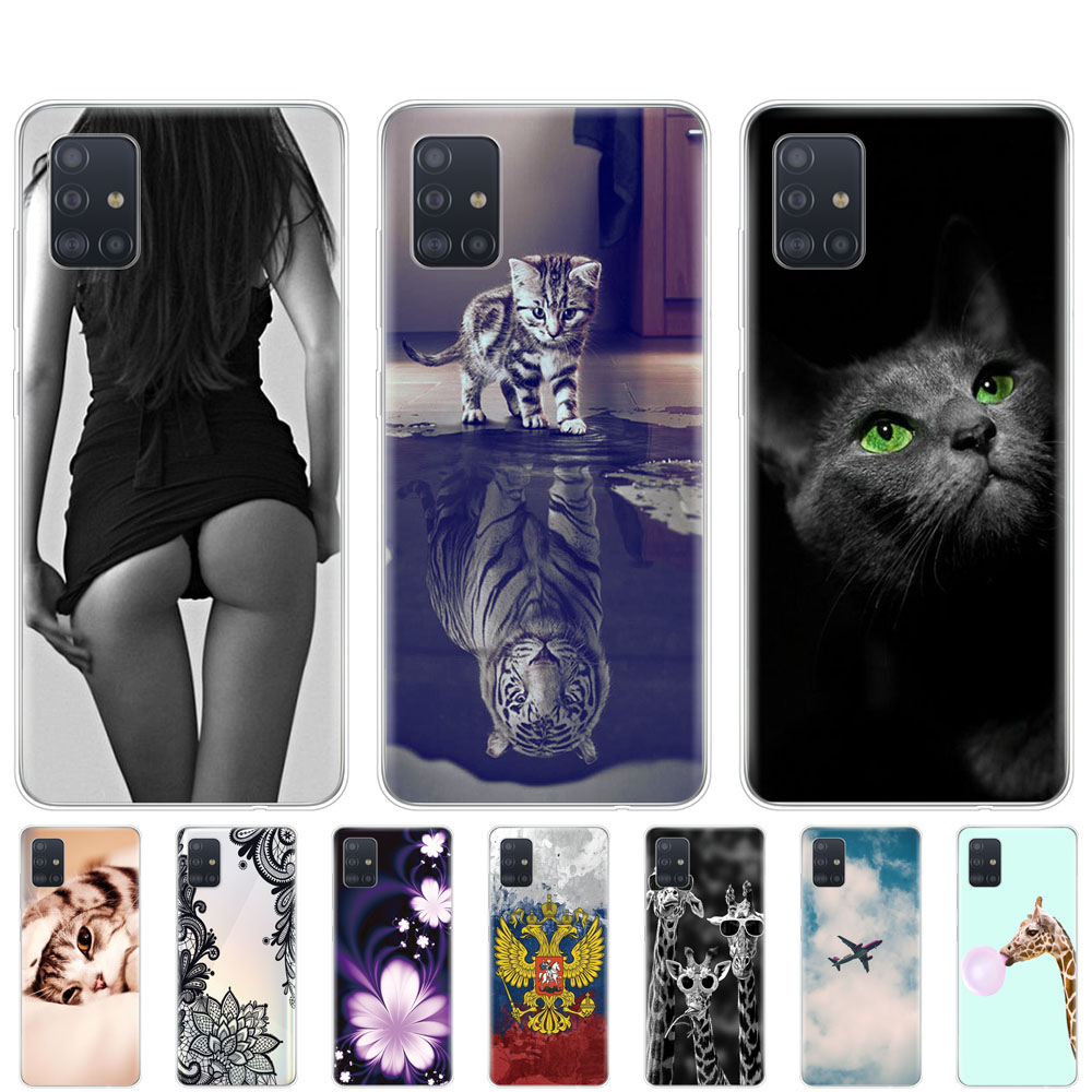 Case For Samsung Galaxy A51 Case Soft Silicon Back Cover For Samsung A51 A515 6.5Inch Bumper Coque Skin Shockproof Cute Cat