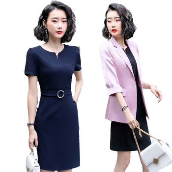 Fashion Ladies Pink Blazer Women Dress Suits and Jacket Sets Work Wear Half Sleeve Business for Office