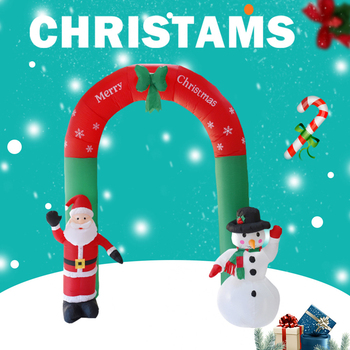 2.4M Giant Santa Claus Snowman Inflatable Arch Garden Yard Archway LED Light with Pump Christmas Halloween Props Party Blow Up