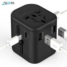 Adaptador de viaje internacional, enchufes multienchufe, 2 fusibles, protección, adaptador Universal, salidas, Cargador USB Dual, puertos de carga tipo C