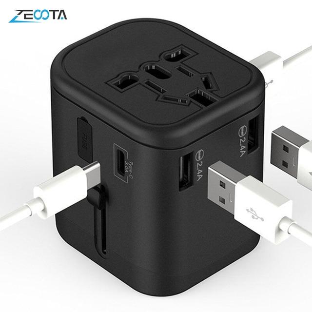 Uluslararası seyahat adaptörü çoklu fiş prizler 2 sigorta korumak evrensel adaptör çıkışı çift USB şarj tipi C şarj portları