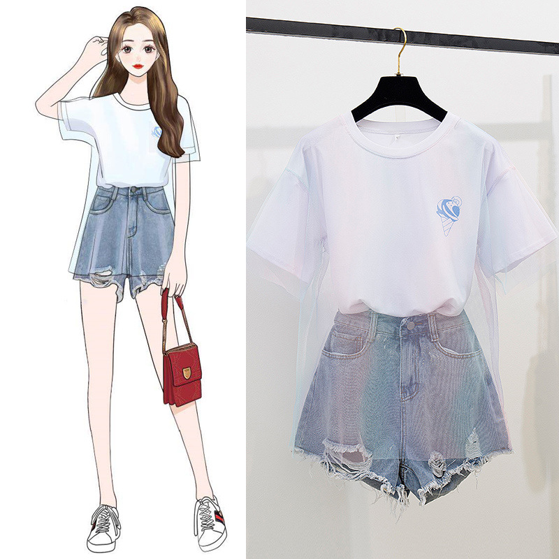 Shaking Voice Network Red Set Mid-length Gauze Gradient Color Loose-Fit Leisure T-shirt Glittering Powder With Holes Denim Short
