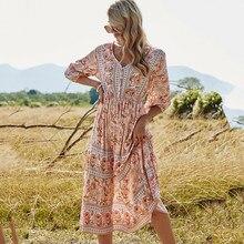 Femmes robe longue Boho été printemps demi manches col en V imprimé fleuri dames robes taille haute une ligne ample robe d'été femme