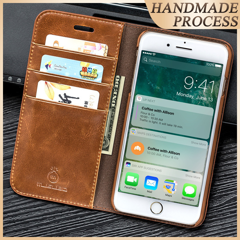 Musubo Genuine Leather Flip Case For iPhone 8 Plus 7 Plus Luxury Wallet Fitted Cover For Innrech Market.com